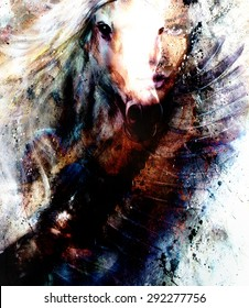 beautiful painting Woman and  horse with a flying eagle beautiful painting illustration collage