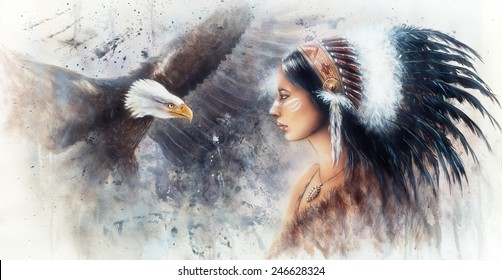 beautiful  painting of a young indian woman wearing a gorgeous feather headdress, with an image  eagle spirits  profile portrait  illustration color