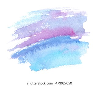 Beautiful pale purple and cool blue brush strokes painted in watercolor on white isolated background