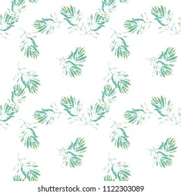 Beautiful palm leaves. Watercolor floral background. Tropical palm leaves seamless watercolour floral pattern background. Autumn palm leaves background. Watercolor tropical leaves seamless pattern.