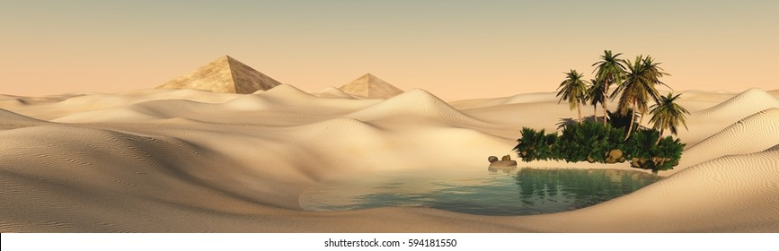 The beautiful panorama of the oasis in the desert sand, 3d rendering