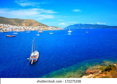 Beautiful panorama oil painting from beautiful tourism city Bodrum