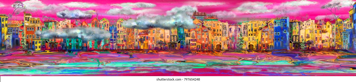 Beautiful panorama of town near the sea with purple sunset