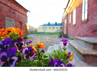 Beautiful pansies in front of historic building at Suomenlinna. Evening sunlight on building.Suomenlinna is a UNESCO World Heritage site, located at Helsinki, Finland. Oil painting illustration
