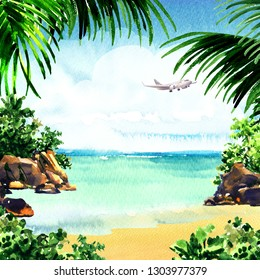 Beautiful paradise tropical island with tropical beach, ocean, sandy beach, palm trees, rocks, flying airplane on blue sky, summer time, vacation and travel concept, hand drawn watercolor illustration