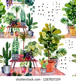 Beautiful part of interior with more house plants. Hand-drawn watercolor seamless pattern with urban jungle for your trendy design.