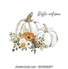 Beautiful pastel pumpkins floral arrangement in rustic style. Hand painted white pumpkin with rust burnt orange, white flowers and dry leaves, isolated on white background. Thanksgiving day card.