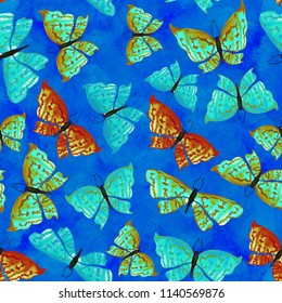 Beautiful pattern with butterflies on blue background. Hand painted textured illustration for textile, printing, fabric, invitation, wedding.