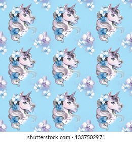 A beautiful pattern with a unicorn with orchids in the mane - a print for t-shirts, stickers, children's clothing and accessories. Feminine fabulous watercolor drawing.