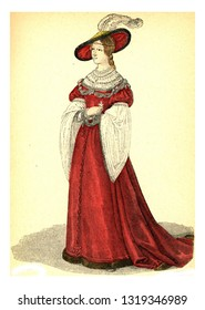 The beautiful Paule, vintage engraved illustration. 12th to 18th century Fashion By Image.