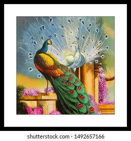 Beautiful peacock bird Abstract texture artwork decorative pattern background canvas oil painting. Multicolor dynamic bright textured artistic modern art design wallpaper