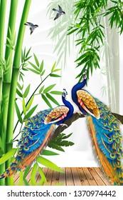beautiful peacock nature background 3d wallpaper