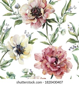 Beautiful peony, anemone flowers with leaves on background. Seamless floral pattern, border. Watercolor painting. Hand drawn illustration. Design for fabric, wallpaper, bed linen, greeting card design