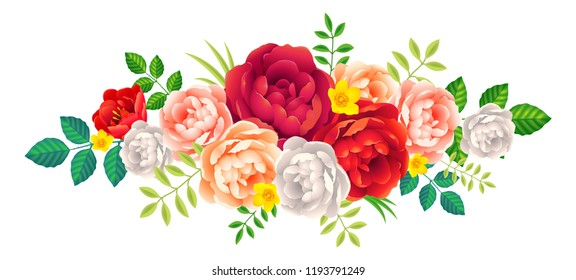 Beautiful peony flowers and leaves decoration floral element isolated on white background