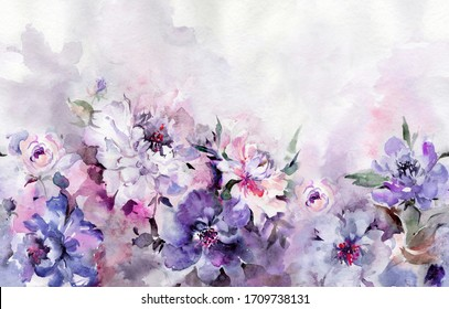 Beautiful peony flowers with leaves on background. Seamless floral pattern, border. Watercolor painting. Hand drawn illustration. Design for fabric, wallpaper, bed linen, greeting card design
