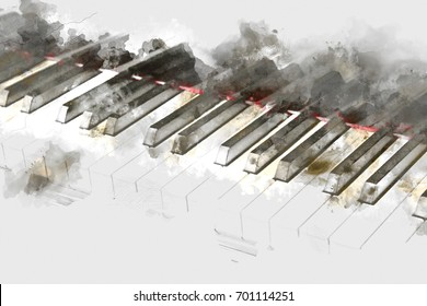 Beautiful Piano keyboard on watercolor painting background. Piano Digital watercolor painting