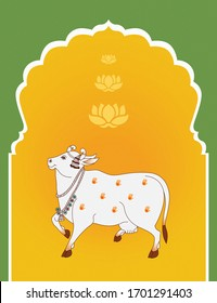 A Beautiful Pichwai Cow Painting. Wall Decore Cow Painting with fresh Yellow and Green  Color