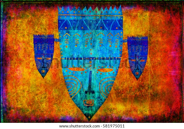 A beautiful picture of some ethnic masks on the nice scratched yellow background with pink border.