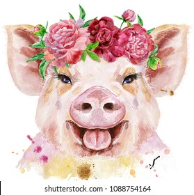 A beautiful pig in a wreath of peonies. Flowers. Watercolor illustration with splashes.