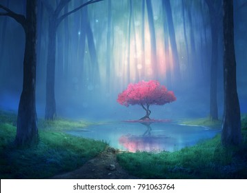 Beautiful pink cherry tree in the forest. Digital 3D illustration.