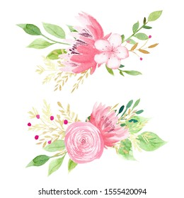 Beautiful pink flowers watercolor hand drawn raster illustration set. Rose, peony, forget me not aquarelle painting set. Creative floral design, aquarelle blossoms with leaves. Romantic spring decor