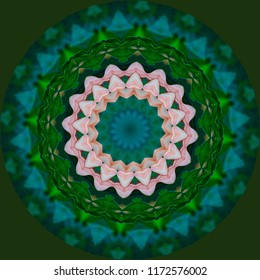 Beautiful pink, green, lavender mandala with creative floral design on green background. Decorative element, ethnic design, web design, anti-stress therapy, meditation
