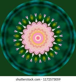 Beautiful pink, green, lavender, yellow, orange mandala with spiral design on green background. Decorative element, ethnic design, web design, anti-stress therapy, meditation