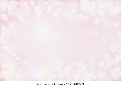 Beautiful pink heart bokeh background perfect for Valentines Day or Wedding Invitations. Free space for text.