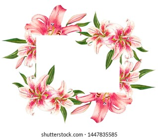Beautiful pink lily frame. Bouquet of flowers. Floral print. Marker drawing. Watercolor painting. Wedding and birthday composition. Greeting card. Flower painted background. Hand drawn illustration.