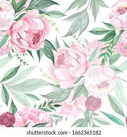 Beautiful pink peonies with green leaves on white background. Watercolor floral seamless pattern.
