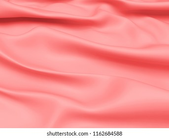 Beautiful Pink Satin Fabric for Drapery Abstract Background. 3d rendering illustration.
