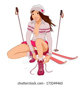 Beautiful pinup girl skis tying shoes stock illustration 173249483 beautiful pin up girl with skis tying shoelaces isolated on a white background thecheapjerseys Images