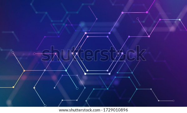 Beautiful polygon lines and dots connection technology background. Smart internet tech and data connection concept.