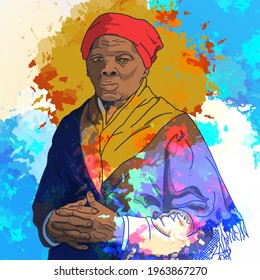 Beautiful portrait of Harriet Tubman made with colored spots. Marryland, United Stated 1897