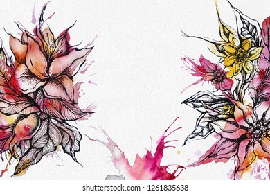 Beautiful post floral card design, hand drawn, watercolor and graphic