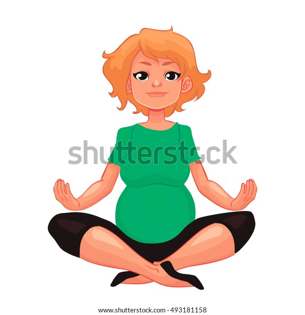 beautiful pregnant woman in various poses of yoga, cartoon style illustration isolated on white background. Beautiful pregnant woman doing yoga, healthy lifestyle
