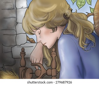 The beautiful princess is crying. Digital illustration for Grimm's fairy tale Rumpelstiltskin.