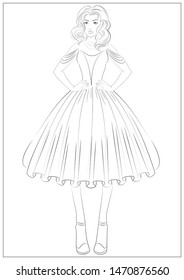 Beautiful princess girl with curly hair in a magnificent dress. Coloring page. Coloring book for adults.
