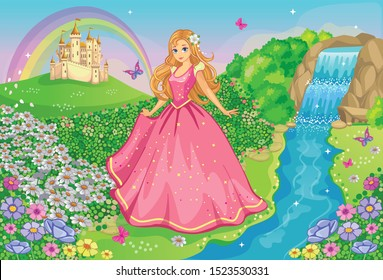 A beautiful Princess in a pink dress. Fairytale and romantic story. Fabulous background with flower meadow, castle, rainbow, beautiful waterfall, river. Wonderland. Cartoon illustration for children.