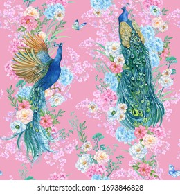 Beautiful print for printing on fabric and Wallpaper, peacocks and flowers .watercolor illustration