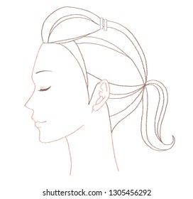 Beautiful profile face of young woman