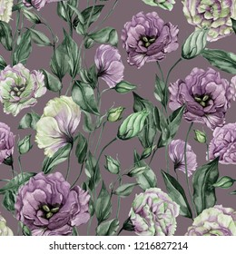 Beautiful purple and chartreuse eustoma flowers (lisianthus) with leaves and closed buds. Seamless floral pattern. Watercolor painting. Hand painted botanical illustration. Wallpaper, textile design.