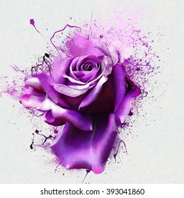 Beautiful purple rose closeup on a white background, with elements of the sketch and spray paint, as illustration for the cover of a notebook or Notepad, or print for garment