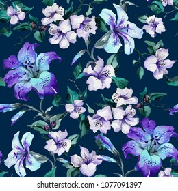Beautiful purple tiger lilies on twigs on deep blue background. Seamless floral pattern. Watercolor painting. Hand painted illustration. Fabric, wallpaper design.