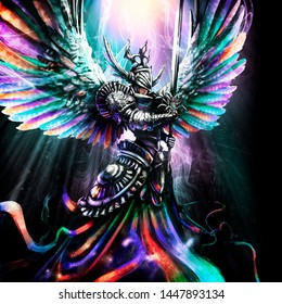 Beautiful rainbow angel in armor and with a sword, hovers in the divine light