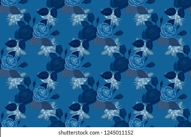 Beautiful raster seamless pattern in small abstract blue rose flowers. Small colorful flowers. Small cute simple spring stylized rose flowers.