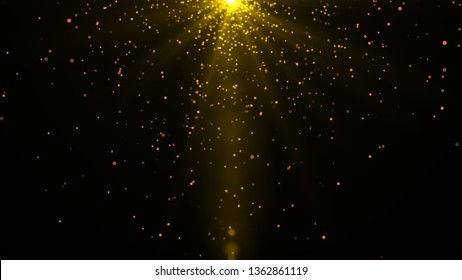 Beautiful rays of glowing light for overlay  effect.Gold lights shining with shiny sparkles or particle glitter. Illustration