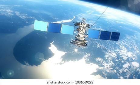 Beautiful realistic satellite in low Earth orbit. 3D rendering