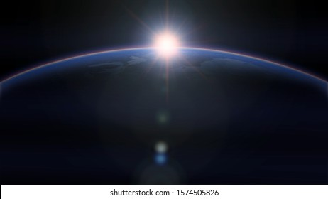 Beautiful realistic sunrise on Earth. View from space. Realistic surface of our planet. Bright shine over the planet surface. Solar system footage. 3D Render illustration with bright flare effect
