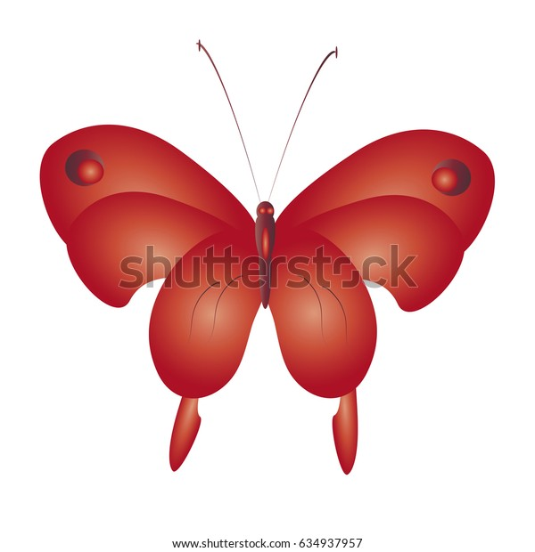 beautiful red butterflies, isolated on a white